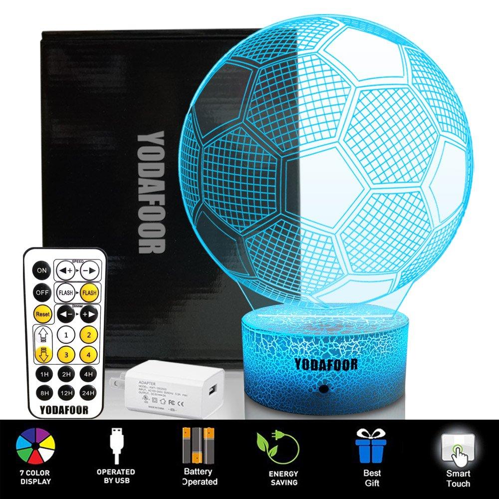 yodafoor 3d Night Lights for Kids Baby Teen子供3dサッカーIllusionスポーツファン、マルチカラーリモート用ランプ、Great誕生日パーティーギフト部屋装飾 B07CYMHXSZ 14172 Soccer White Soccer White