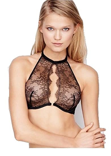 Victoria s Secret muy sexy Chantilly lace Halter sujetador 36d, color negro