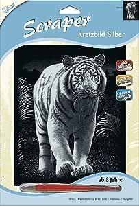 NEU Kratzbild Scraper Silber groß Tiger