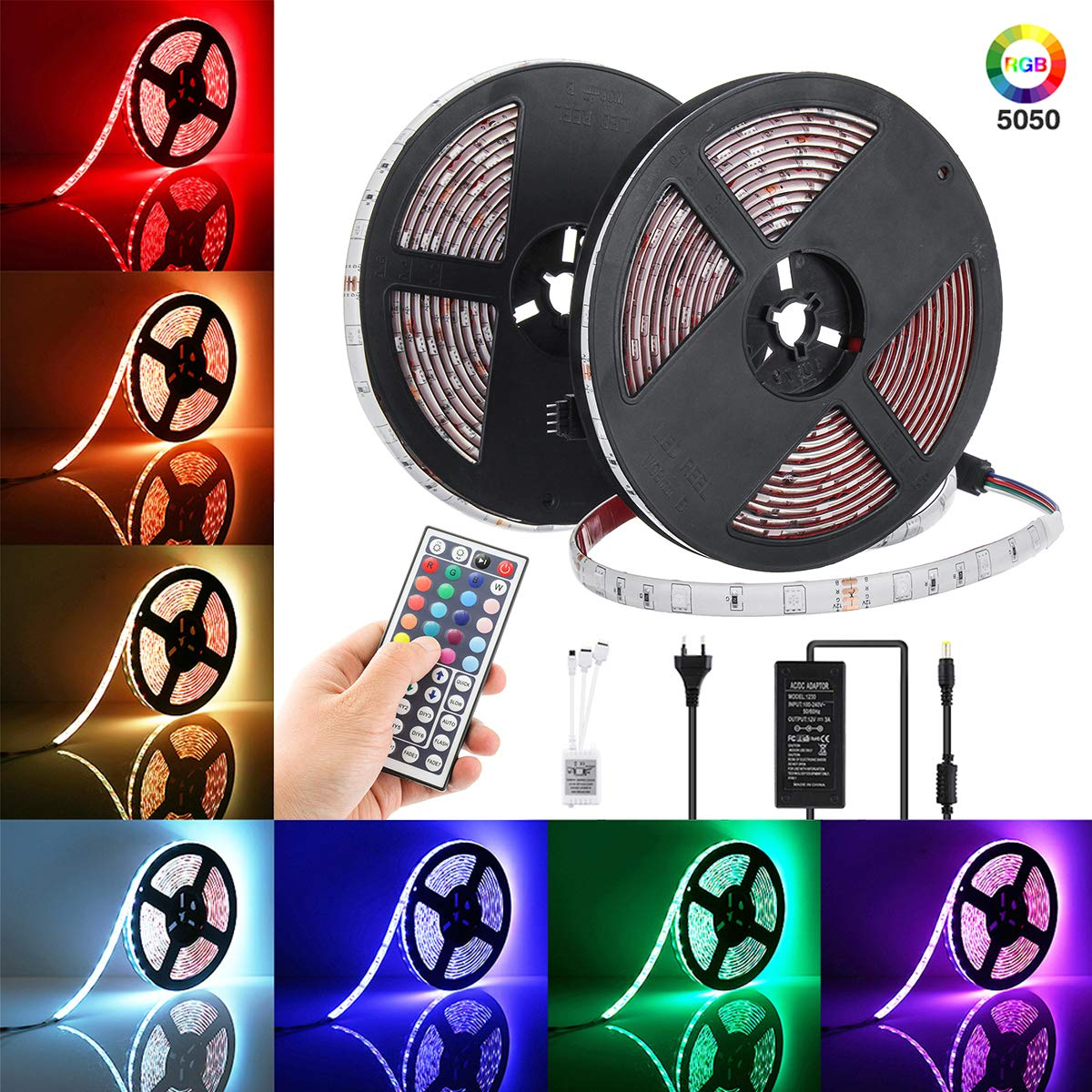 elfeland led streifen 10m led strip led stripes rgb 300. Black Bedroom Furniture Sets. Home Design Ideas