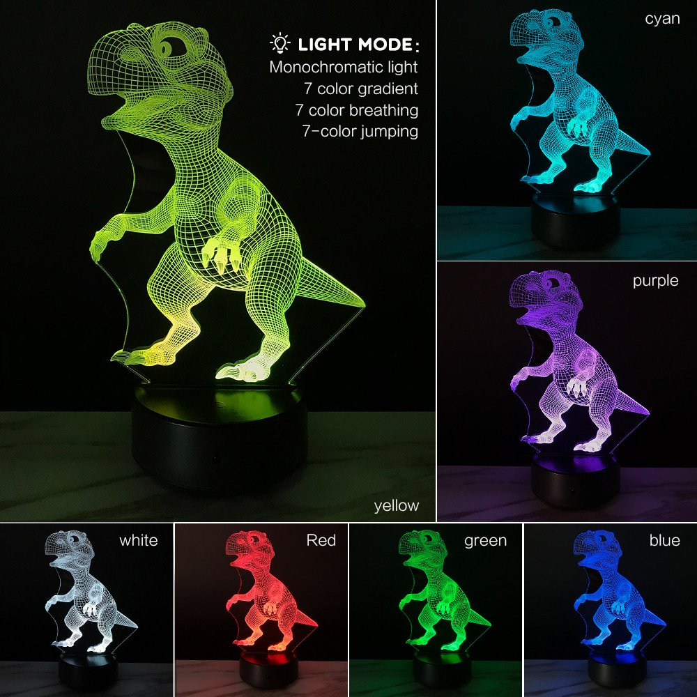 Glumes Dinosaur Night Lights for Kids Birthday Toy 3D Illusion Lamp Dino Christmas Gifts for Boys Home Bedroom Party Supply Decoration 7 Color Raptor Toy (Clear)
