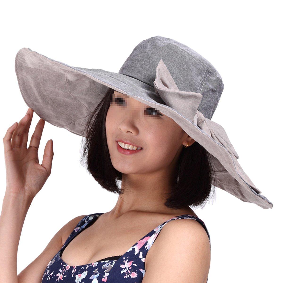 ideale per la spiaggia pieghevole protezione UPF 50/+ Butterme Cappello Panama da donna ideale per proteggersi dai raggi UV morbido fiocco rimovibile