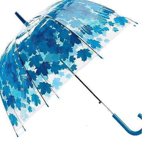 akssweet Mujer Paraguas Creativo Fresco PVC Transparente Seta Verde Hojas Arco Paraguas niño Largo Paraguas Lluvia