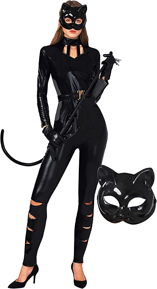 Catwoman Fancy Dress Cosplay Costume Outfit Sizes Medium Or Large