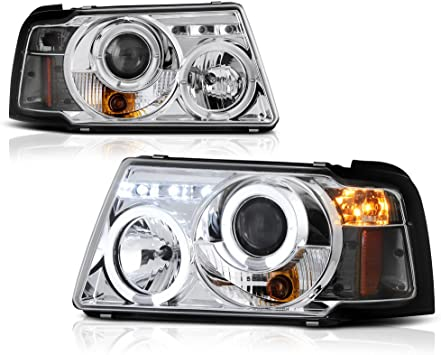 amazon com for 2001 2011 ford ranger pickup truck led halo ring chrome bezel projector headlight headlamp assembly replacement pair driver passenger side set automotive for 2001 2011 ford ranger pickup truck led halo ring chrome bezel projector headlight headlamp assembly replacement pair driver passenger side set