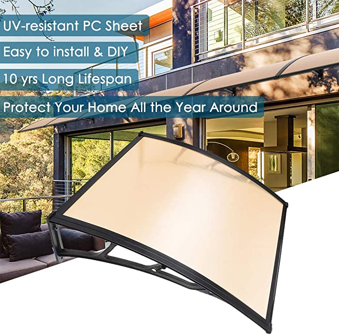 """Yescom 39x39"""" Patio Door Window Awning Canopy Cover UV Rain Snow Protection One-Piece Polycarbonate Hollow Sheet"""