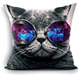 """oFloral Galaxy Hipster Cat Theme Throw Pillow Cover Funny Cat Wear Color Sunglasses Rectangle Pillow Case Cushion Cover Standard Size 18""""X18""""(Two Sides) Gift for Men,Women,Dad,Mom,Sister,Friend"""