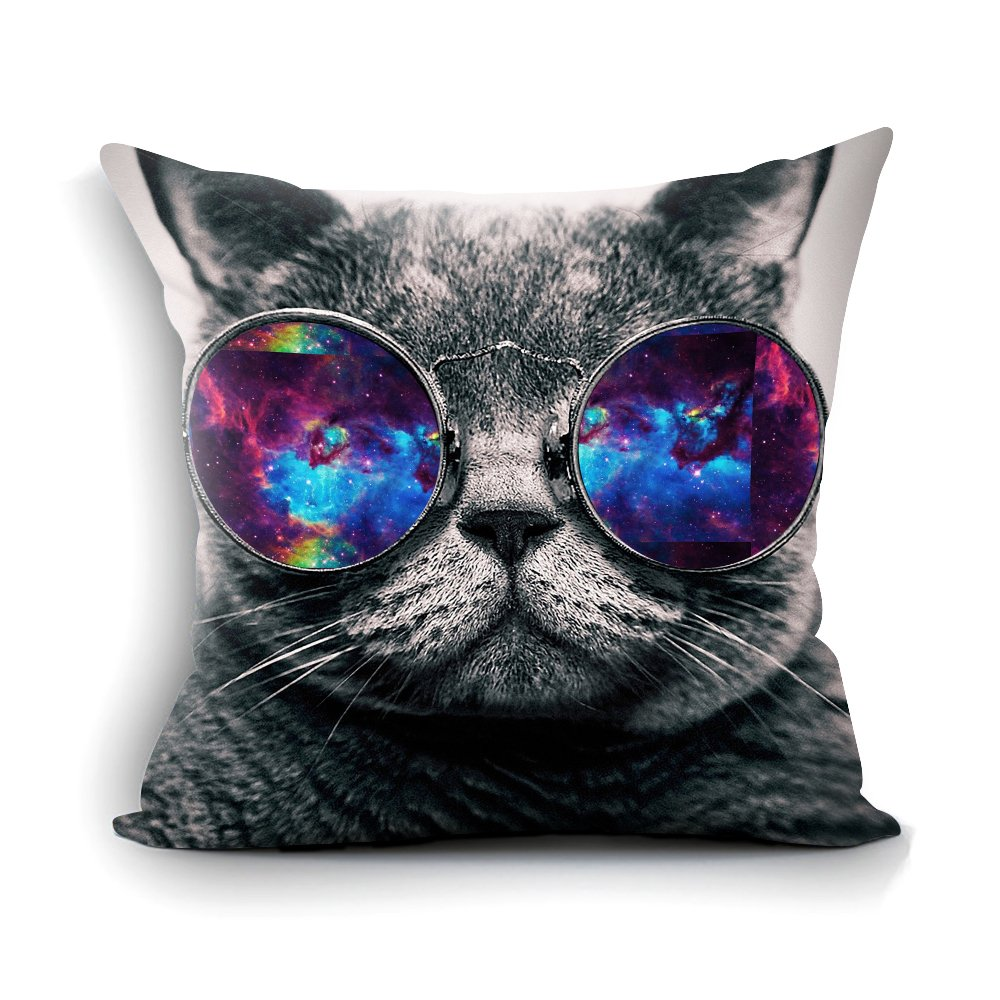 "oFloral Galaxy Hipster Cat Theme Throw Pillow Cover Funny Cat Wear Color Sunglasses Rectangle Pillow Case Cushion Cover Standard Size 18""X18""(Two Sides) Gift for Men,Women,Dad,Mom,Sister,Friend"