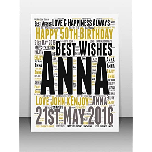 Personalised 50th Birthday Word Art Greeting Card Details Required Please Refer To Image Section