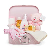 Newborn Baby Gift Set – Keepsake Box in Pink with Baby Clothes, Teddy Bear and Gifts...