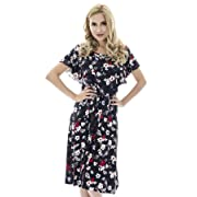 Bearsland Women's Summer Floral Cloak Design Maternity Breastfeeding Dress Nursing Dress,newblack,M