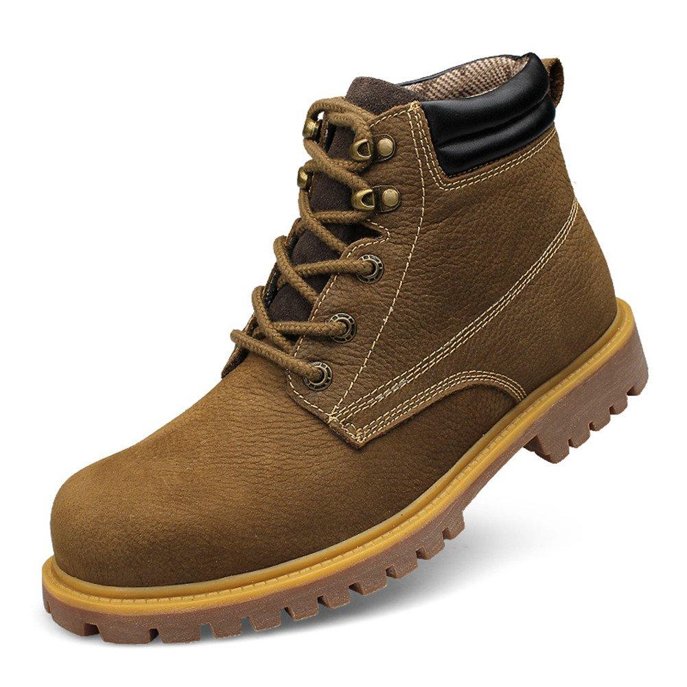Ailishabroy Braune Leder Stiefel Herren High Top Top Top Schuhe Schnürschuhe Flache Oxfords 3aeddf