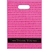 "(Hot Pink) - 9 x 12 Hot Pink ""Thank You"" Die Cut Handle Plastic Bags 50/cs"