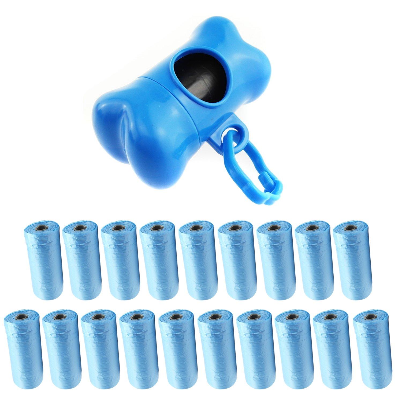 400 bags + 1 bluee Dispenser InnoLife, (bluee) 1 Bone Shaped Dispensers + 400pcs Pet Waste Bags, Dog Waste Bags, Bulk Poop Bags on a roll, Clean up poop bag