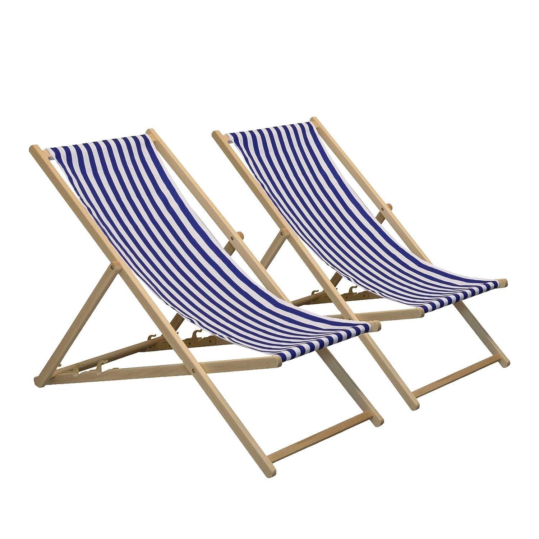 Harbour Housewares Sedia a Sdraio Tradizionale, Regolabile, da Giardino Stile Spiaggia, a Righe Blu Bianche - Set da 2