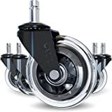 The Original Office Chair Caster Wheels Rollerblade Style (Set of 5), Safe for All Floors & Hardwood, Replacement for Desk Fl