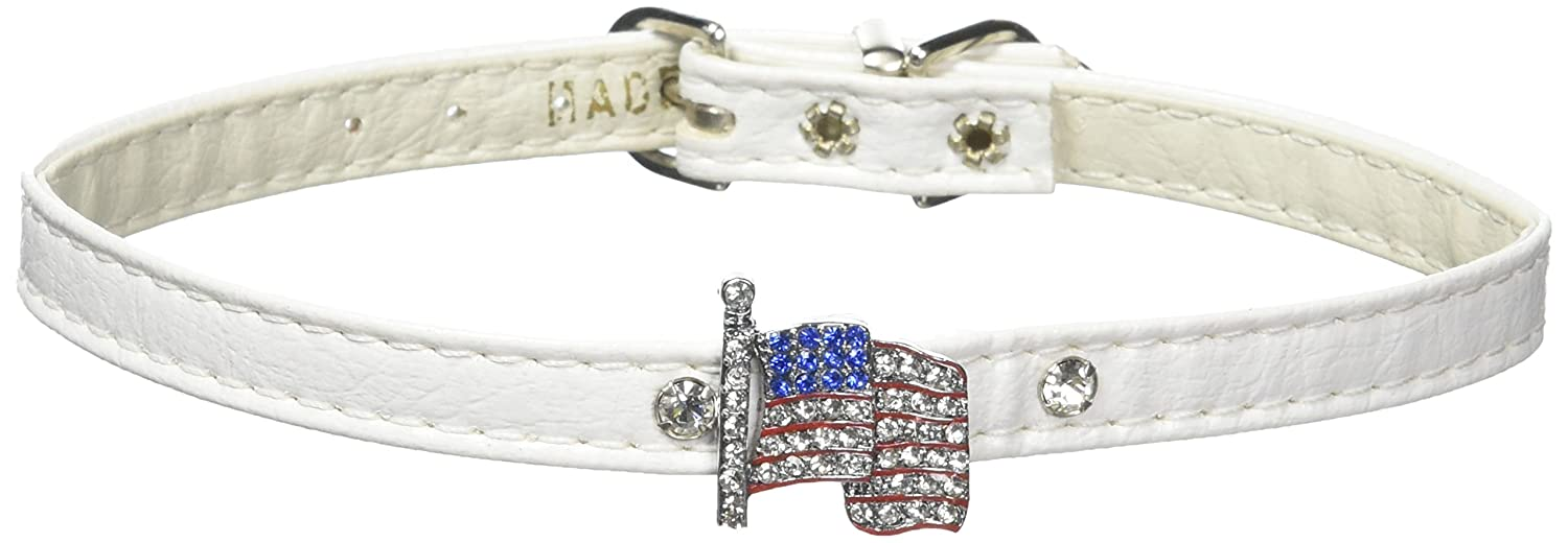 Dog   Cat   Pet Charms 1 Flag Collar White 14