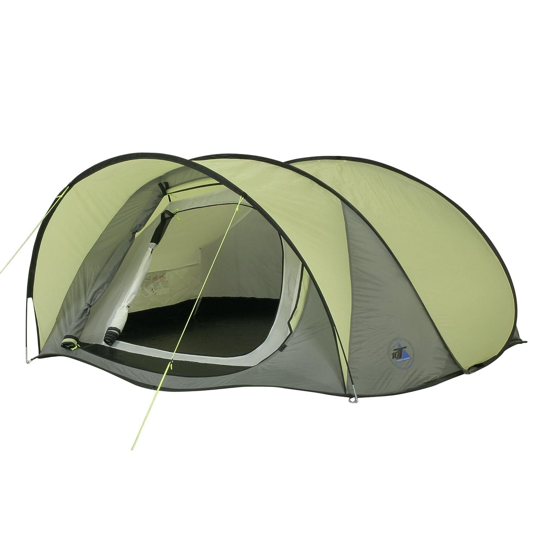 10T Camping-Zelt Maxi Pop 3 Pop-Up Wurfzelt mit Schlafkabine für 2 Personen Automatik-Zelt mit Vordach, eingenähter Bodenwanne, Dauerbelüftung, wasserdicht mit 5000mm Wassersäule
