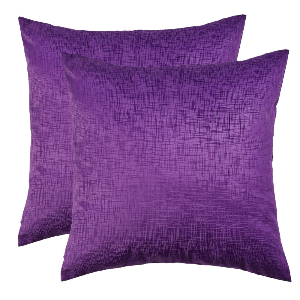 Artcest Set of 2, Decorative Velvet Bed Throw Pillow Case, Stylish Maze of Gingham, Comfortable Couch/Sofa Cushion Cover (Violet, 18''x18'')