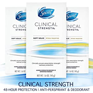 Secret Antiperspirant Deodorant for Women, Clinical Strength Soft Solid, Stress Response, 1.6 Oz, Pack of 3