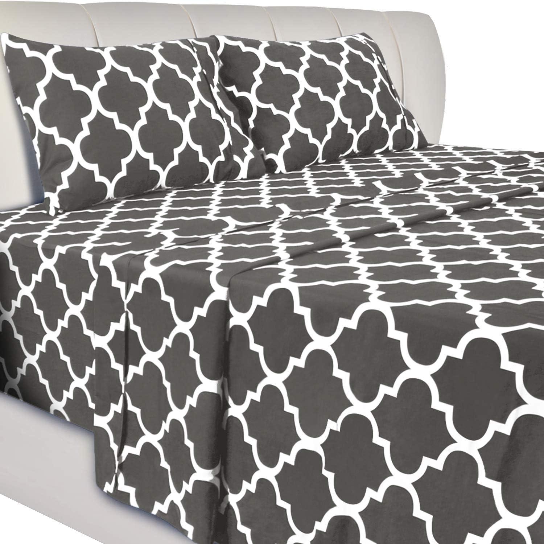 Utopia Bedding Printed Bed Sheet Set - 4 Piece Microfiber Bedsheet Set (Queen, Grey)