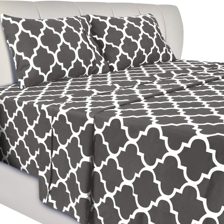 Utopia Bedding Printed Bed Sheet Set - 3 Piece Microfiber Bedsheet Set (Twin XL, Grey)