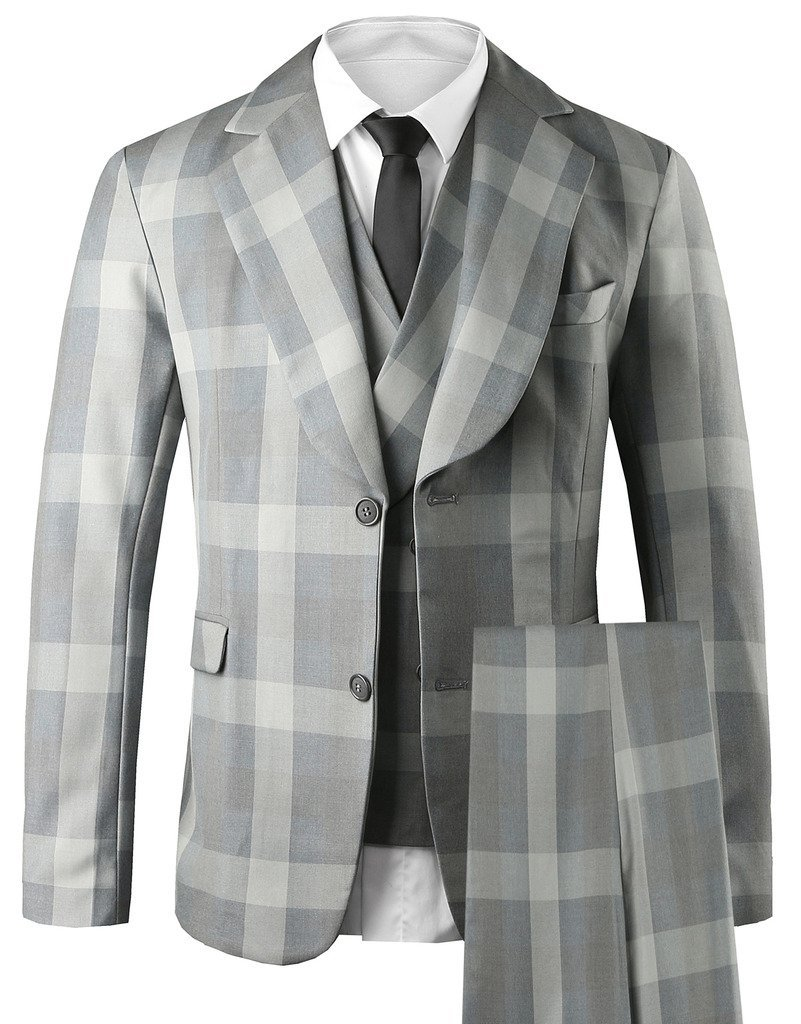 Hanayome Men's 3 PC Casual Stylish Suit Blazer Jacket Tux Vest & Trousers SI17£¨Darkgrey,44L£