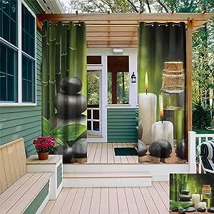 leinuoyi SPA, arandela de Cortina para Exteriores, diseño de Vida calmada con símbolo de relajación de bambú y Rocas asiáticas de meditación Zen, Cortina para Patio: Amazon.es: Jardín