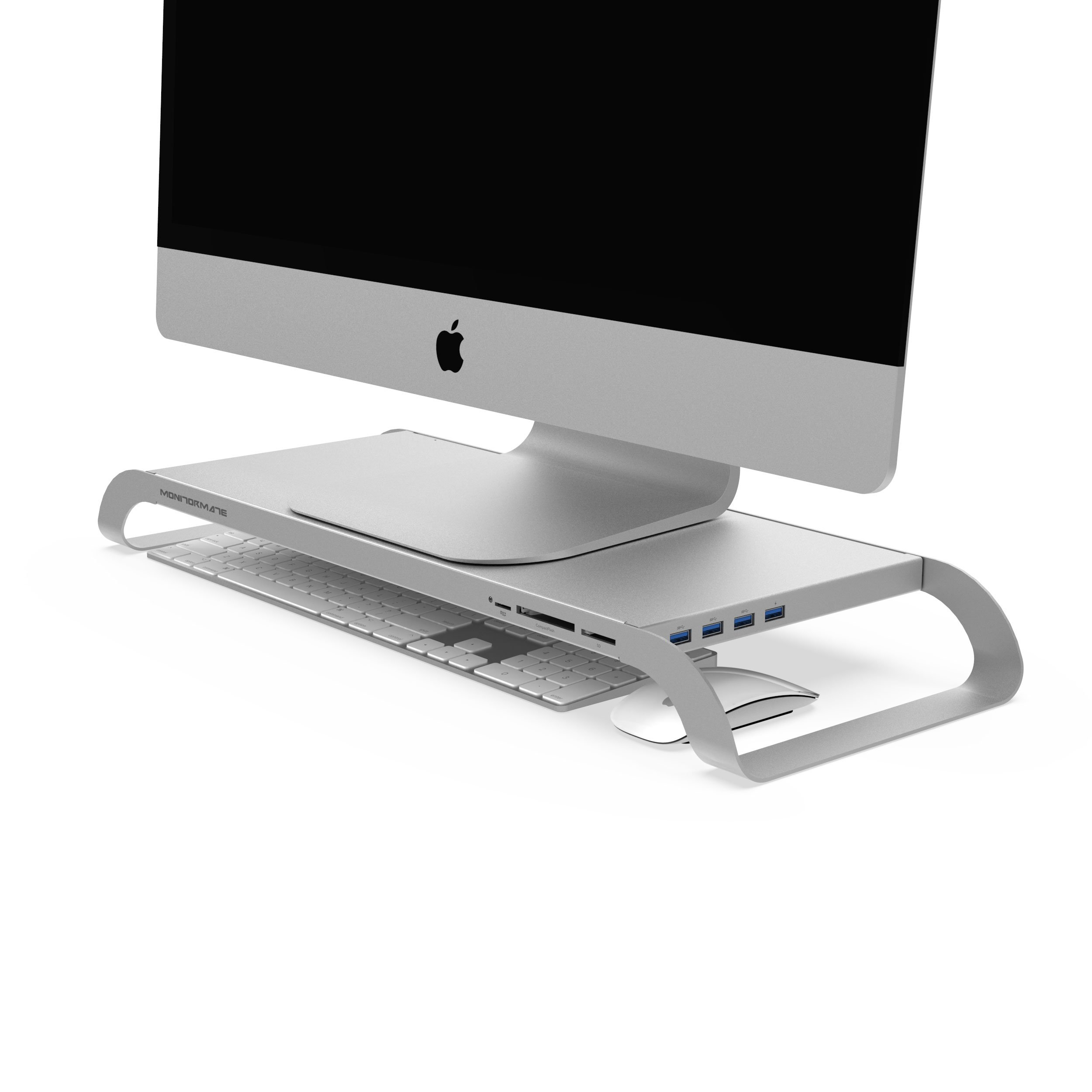 MonitorMate ProStation Aluminum Monitor Stand with USB3.0 hub, Card-Reader, Fast Charger, Hard Drive storage and external power supply(Silver)
