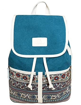 Floral Canvas School Backpack Bookbag Casual Daypack Rucksack (Blue 6450a60659704