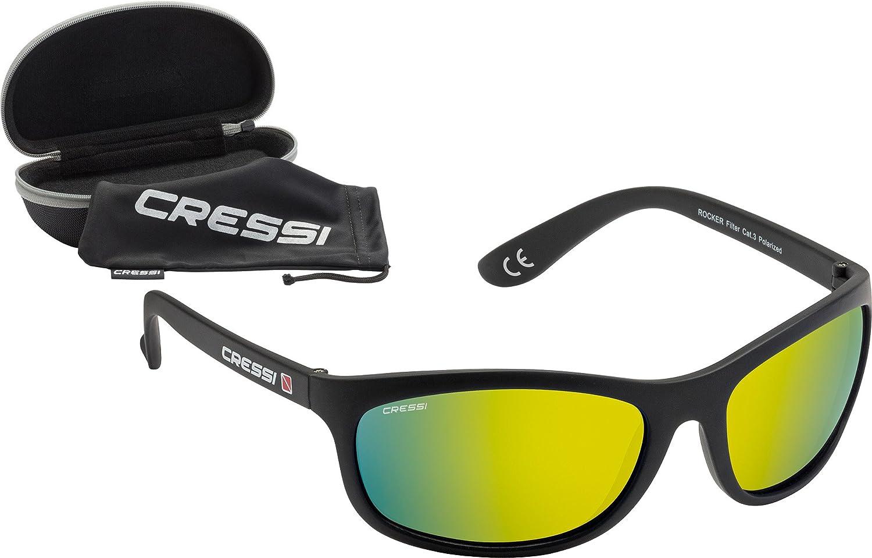 Cressi Unisex Wassersportbrille Rocker, Schwarz/verspiegelte gläser Gelb, M, XDB100016