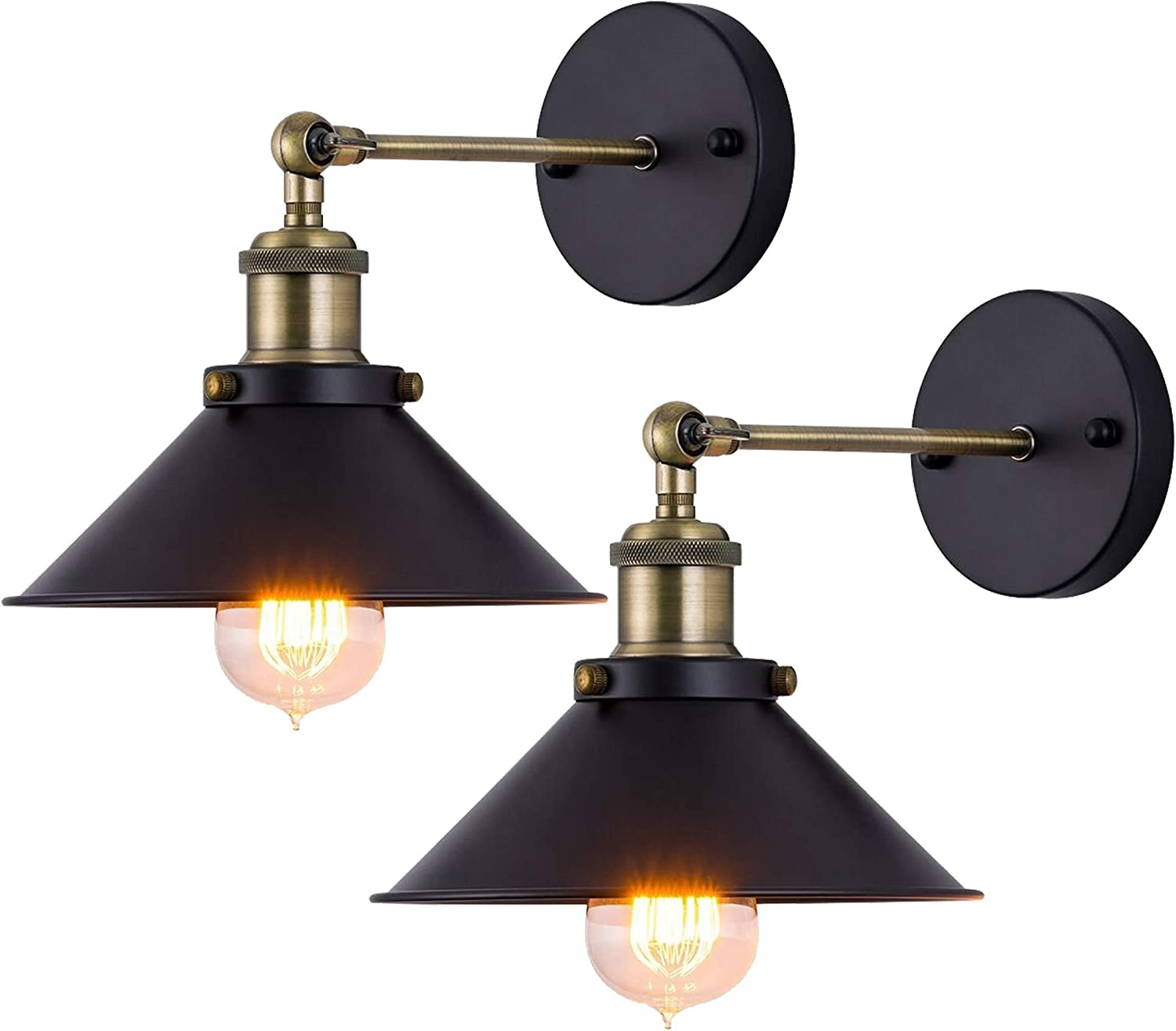 Wall Lights 2 Pack Industrial Wall Lamp E26 Vintage Edison Simplicity Wall Sconce Adjustable Loft Style with Black Metal Shade for Bedroom Cafe Bar Restaurant Office 2 Pack,E26 Bulb not Included