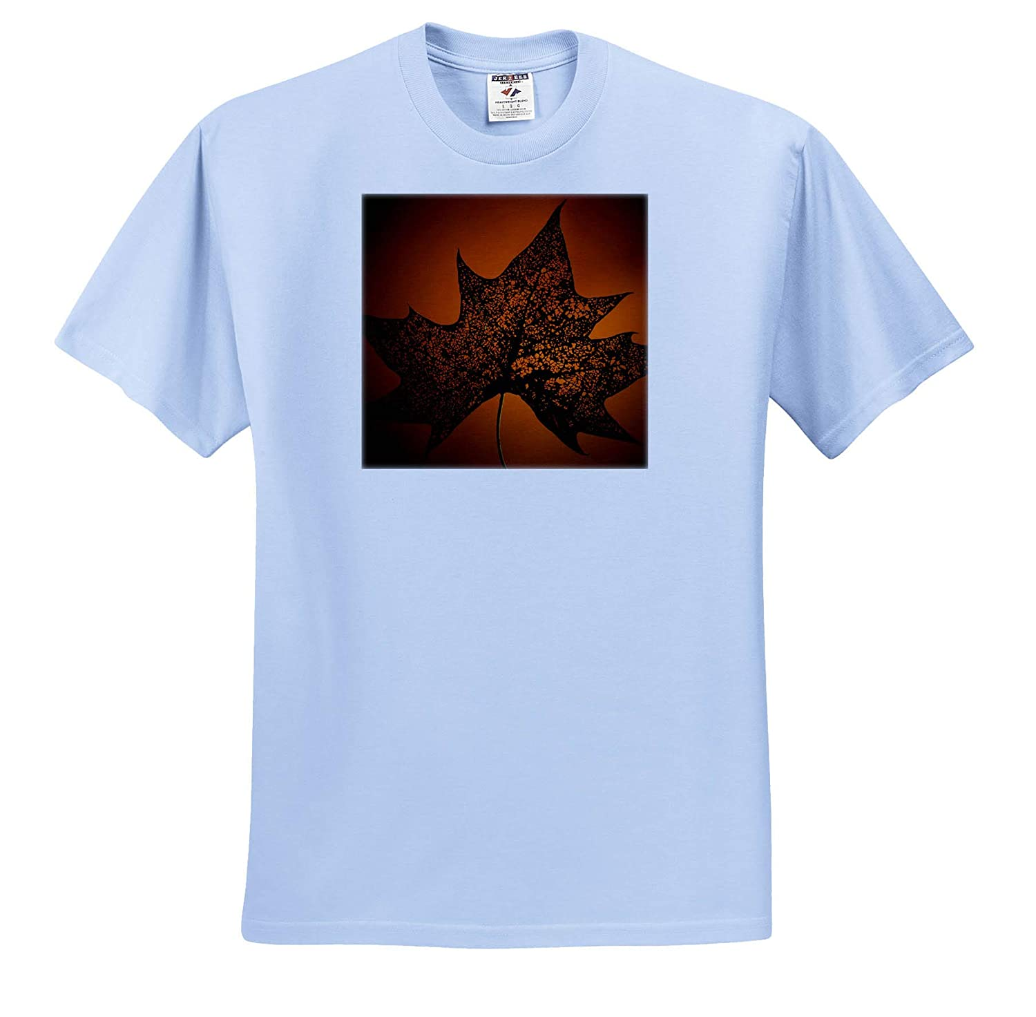 3dRose Stamp City Nature - T-Shirts Photograph of a Bug Eaten Maple Leaf on an Orange Background
