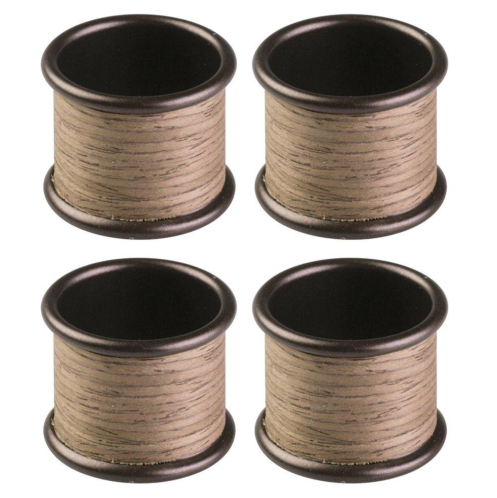 InterDesign RealWood Napkin Rings for Home, Kitchen, Dining Room - Set of 4, Bronze/Walnut Wood Finish