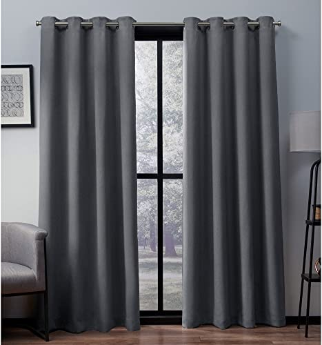 Exclusive Home Curtains Heath Textured Linen Window Curtain Panel Pair with Grommet Top, 52×108, Black Pearl, 2 Piece