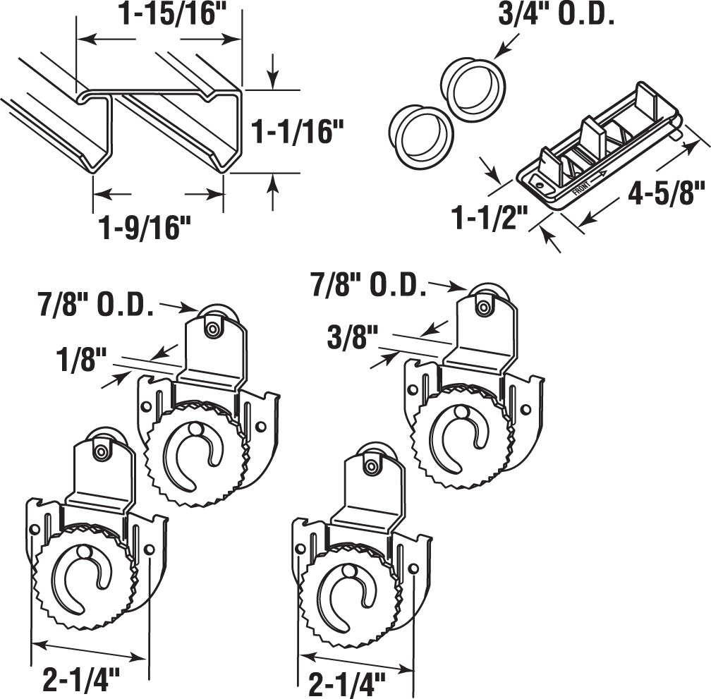Slide-Co 163590 By-Pass Wardrobe Track Kit, 60 in. Opening, Dial-Adjusting Rollers, Steel, 7/8 in. Plastic Wheels by Slide-Co (Image #2)