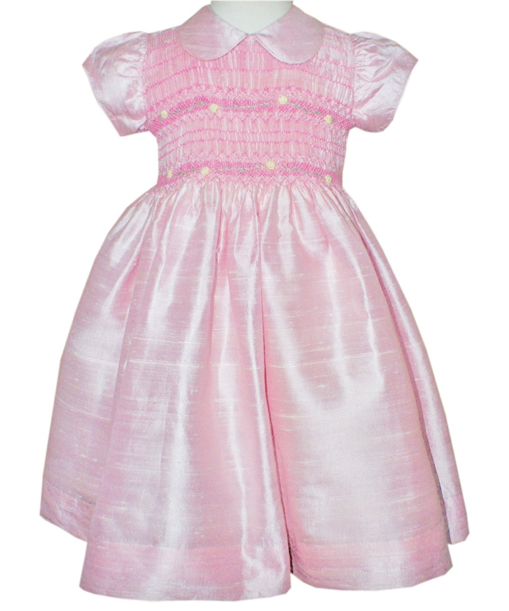 Pink Silk Dupioni Girl Dress Hand Smocked Flower Girls and Special Occasions