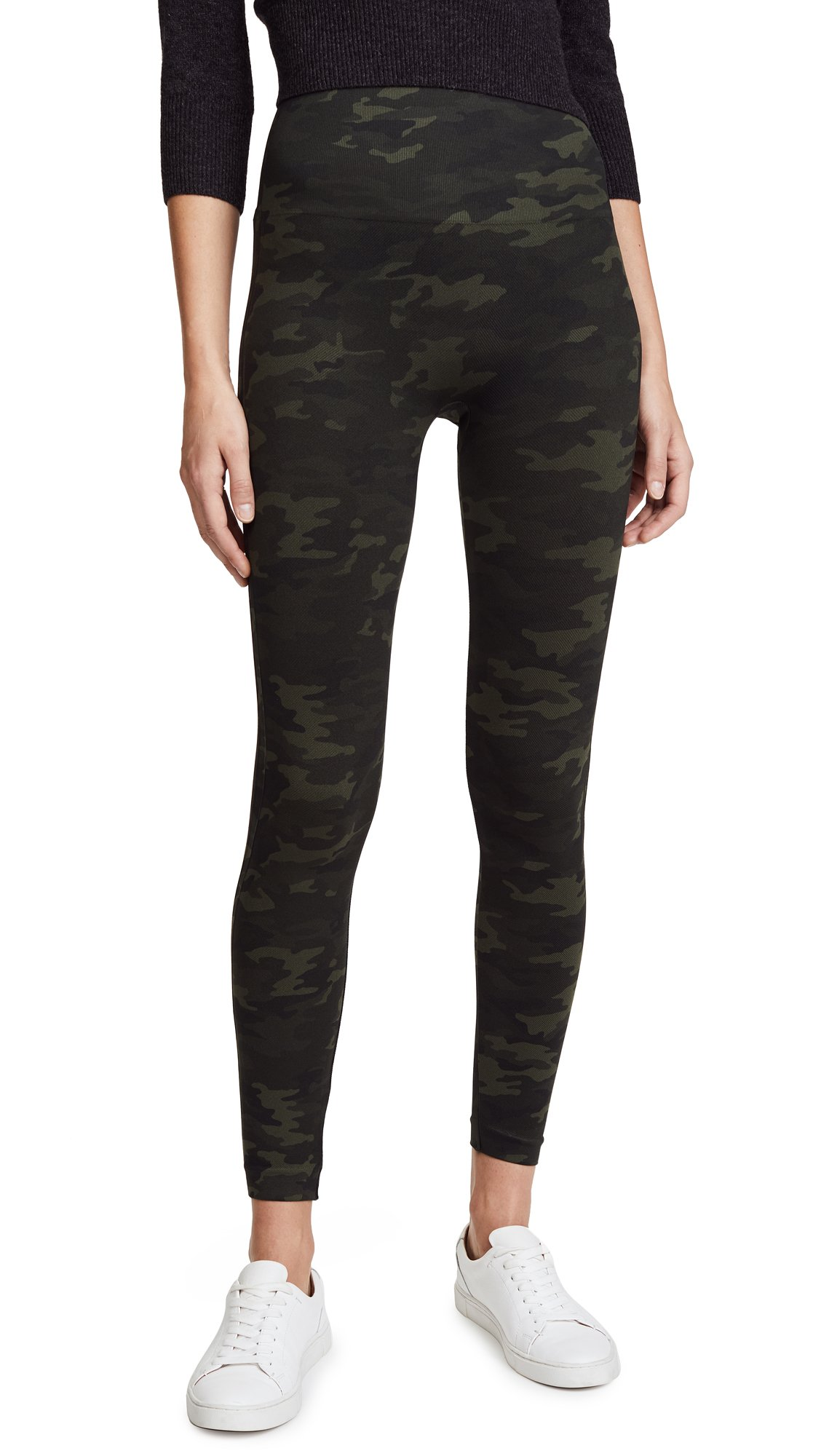 SPANX Women's Seamless Camo Leggings, Green Camo, Medium