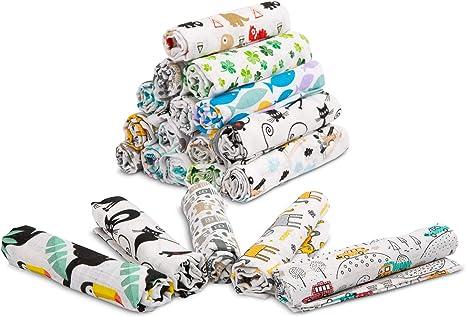 Muselina para bebé recién nacido, juego de 5 piezas, muselina de algodón 100% orgánico 70 x 80 cm, mantas para cuna, albornoz, cuna, certificado Oeko-Tex Standard: Amazon.es: Bebé