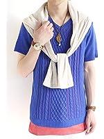 (モノマート) MONO-MART 綿麻 リネン サマーニット フィッシャーマン ケーブル編み カットソー Tシャツ サマー 夏 MODE ストレッチ 爽やか 軽快 カラー メンズ