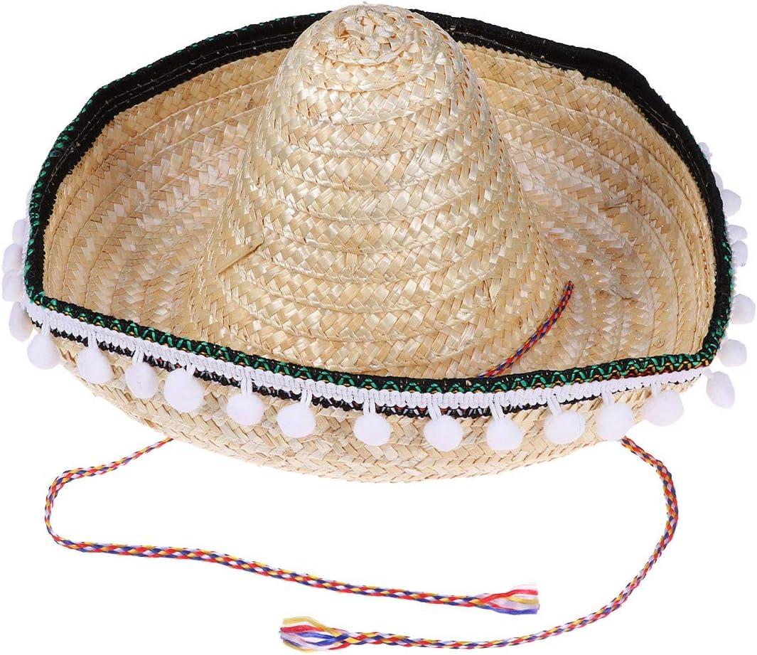 Amosfun Chapeau Mexicain Enfants mexicains Hawaii Chapeau de Paille Mexicaine d/écorations de f/ête Fiesta d/écorations Couleur al/éatoire de la cha/îne