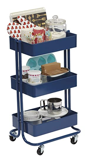 Amazon.com: Darice 30063260 3-Tier Metal Rolling Blue, 30 Inches Storage Cart: Arts, Crafts & Sewing