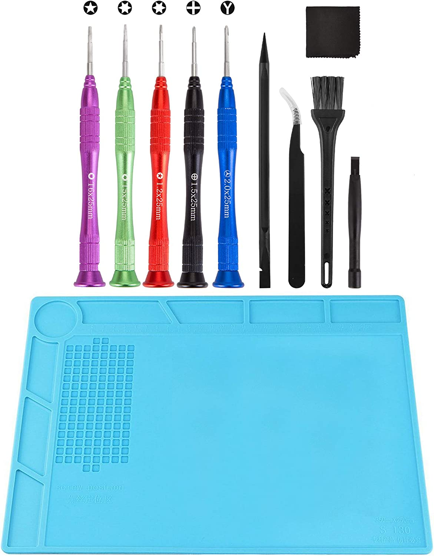 XOOL Screwdriver Set for MacBook (10 PCS) & Heat Insulation Silicone Repair Mat with Tri-Wing Phillips Pentalobe 5 Pentalobe T5 Pentalobe T6 Precision Screwdrivers for Apple MacBook Mac Retina Pro Air