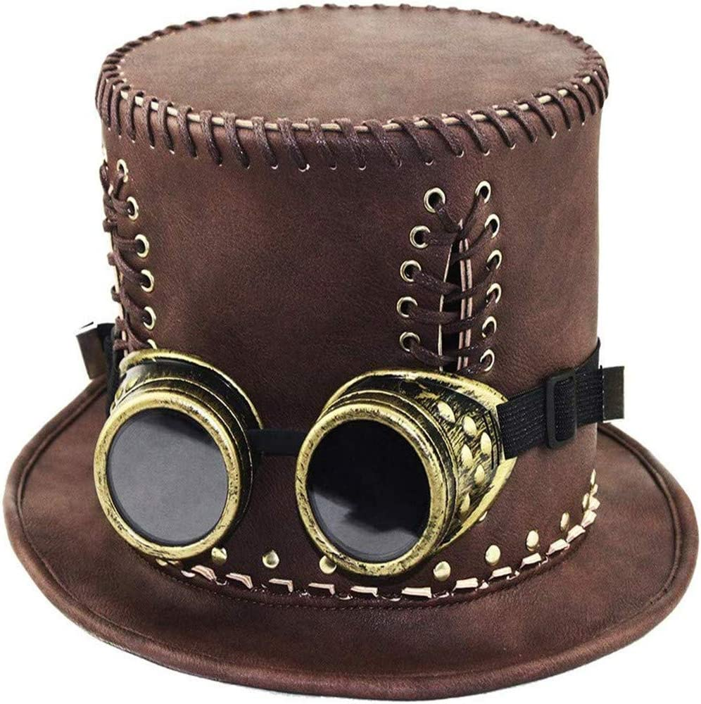 Retro-Gentleman-Hut 54-56 cm HANFEI Zylinder Steampunk-Hut S Unisex Rollenspielzubeh/ör F/ür Die Halloween-Karnevalsparty Mit Brille