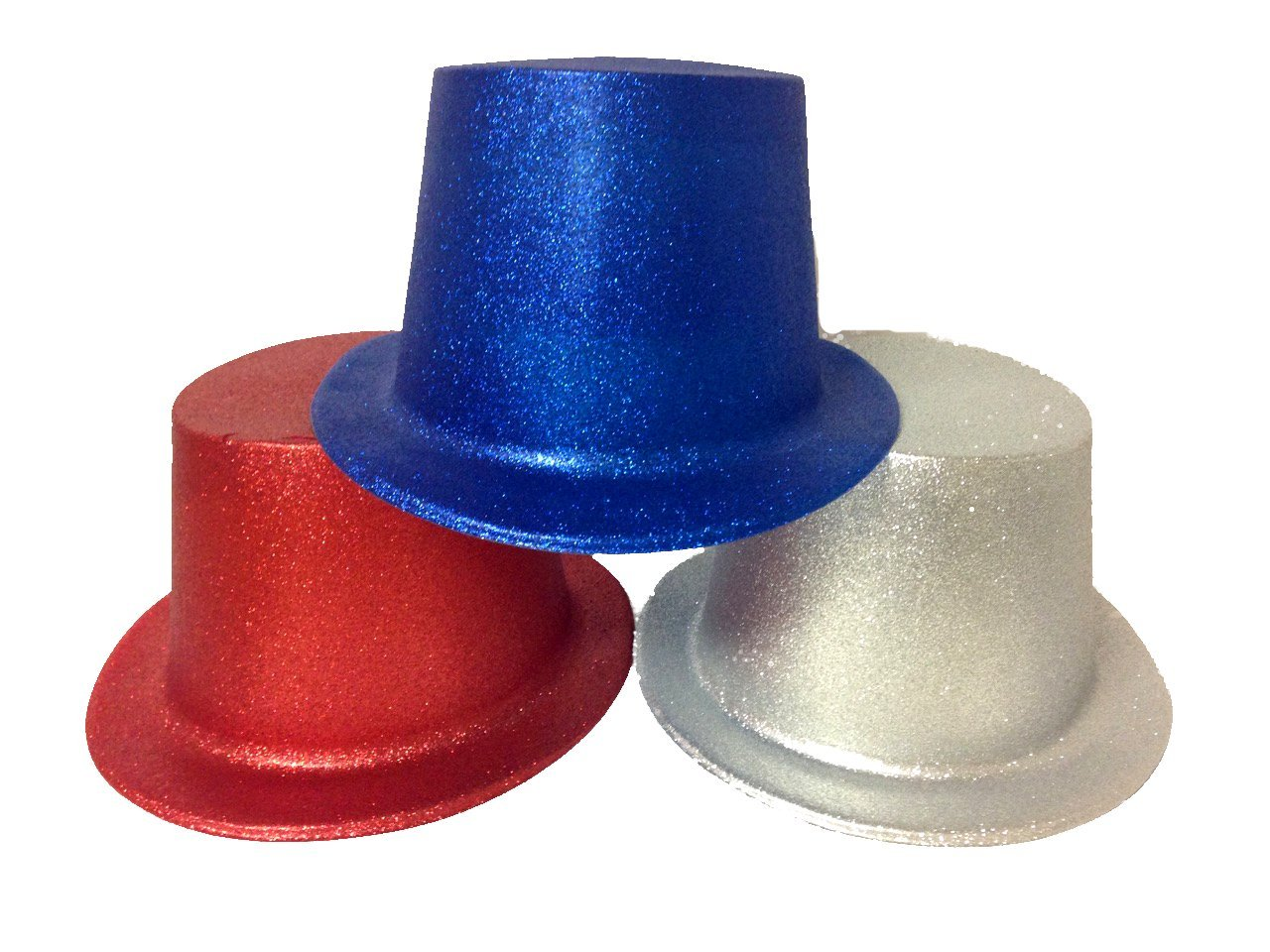 Glitter Top Hats in Red/Silver/Blue for Adults Lot of 12 Hats