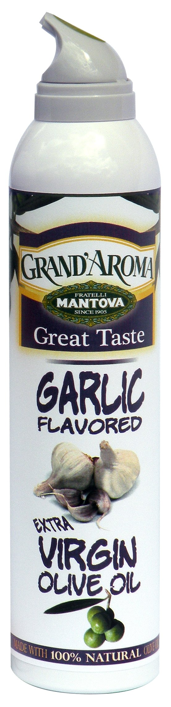 Mantova Extra Virgin Olive Oil Spray Garlic Flavored 8 oz. Spray Bottle - Manage Oil Amount - Great For Salads & Cooking