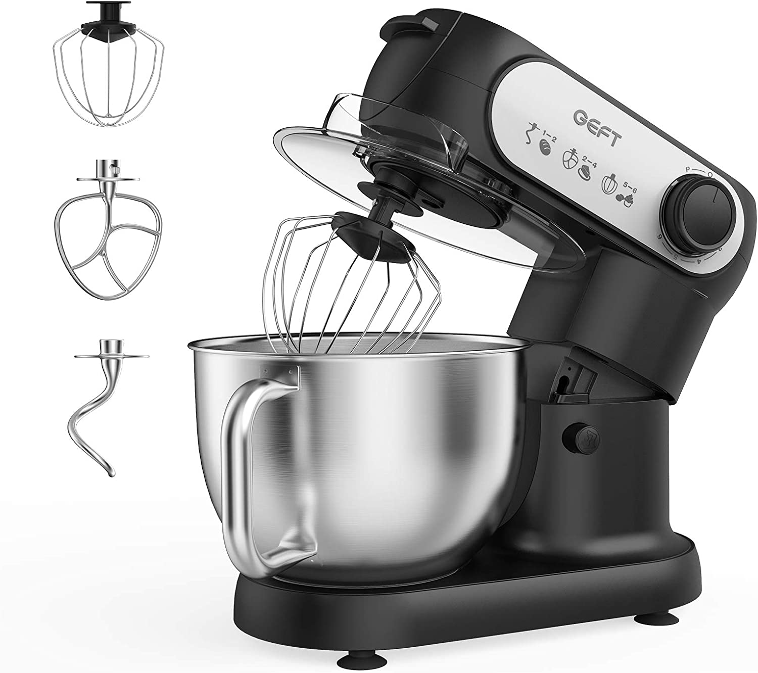 Stand Mixer- GEFT 5.8-QT 6-Speed Kitchen Mixer with 600W Powerful Motor, Electric Food Mixer with Stainless Steel Mixing Bowl & Splash Guard, Dough Hook, Mixing Beater, Wire Whisk, Tilt-Head