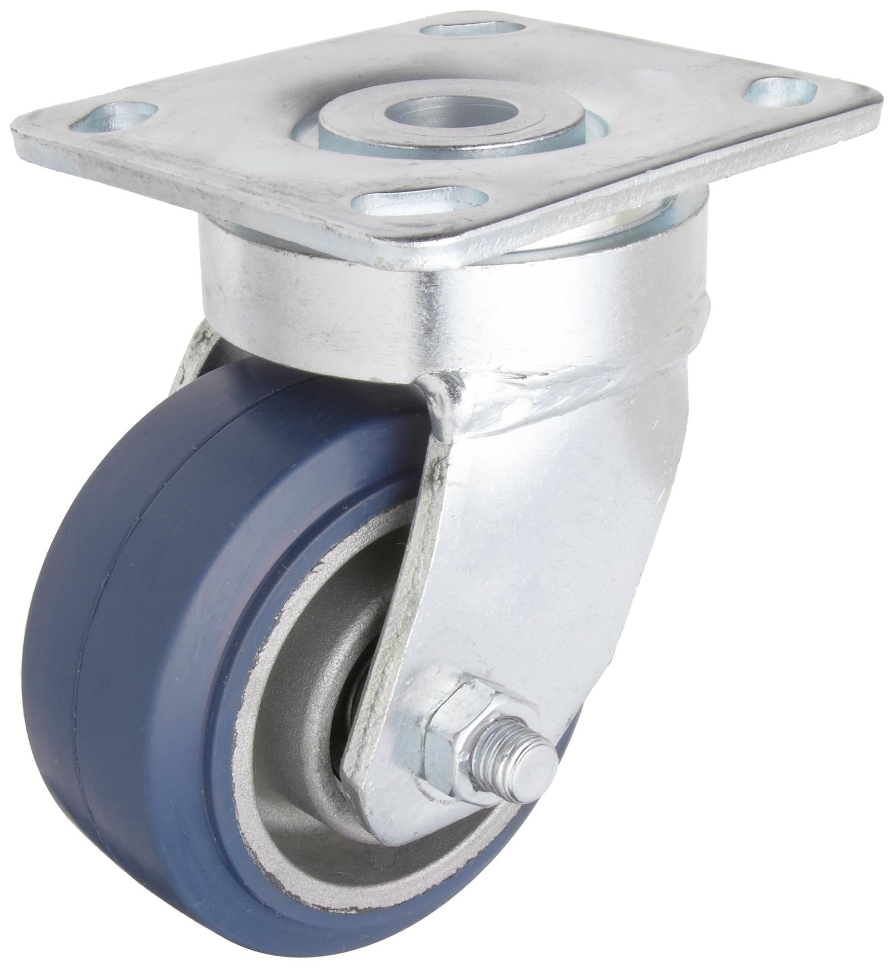 RWM Casters Freedom 48 Series Plate Caster, Swivel, Rubber on Aluminum Wheel, Ball Bearing, 525 lbs Capacity, 4'' Wheel Dia, 2'' Wheel Width, 5-5/8'' Mount Height, 4-1/2'' Plate Length, 4'' Plate Width