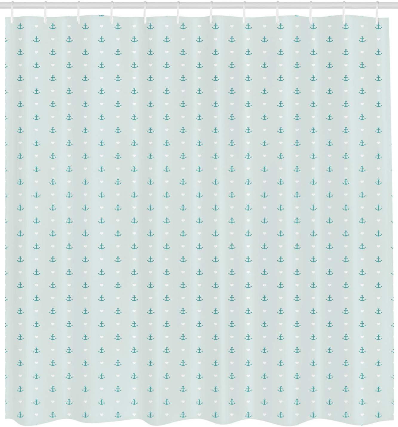 Material Resistente al Agua Durable Estampa Digital Ancla de Forma de la Flor ABAKUHAUS Ancla Cortina de Ba/ño 175 x 180 cm Blanco Negro
