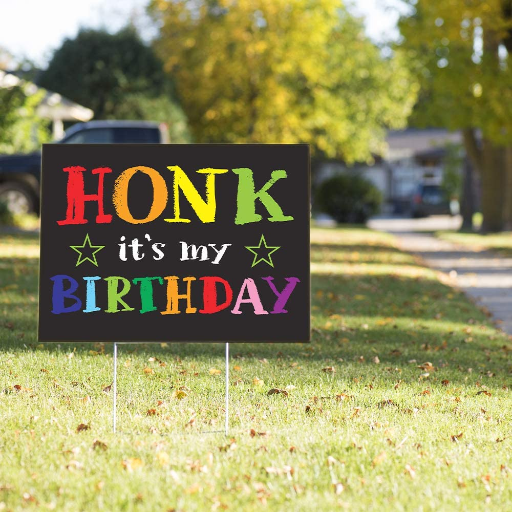 HONK IT/'S MY BIRTHDAY HAPPY YARD SIGN WEATHER RESISTANT PLASTIC DECORATIONS